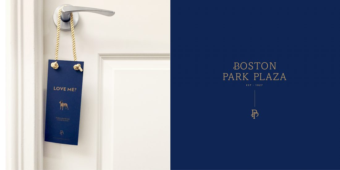 guest room DND do not disturb door hanger design for iconic Boston Park Plaza hotel, contemporary brand logo