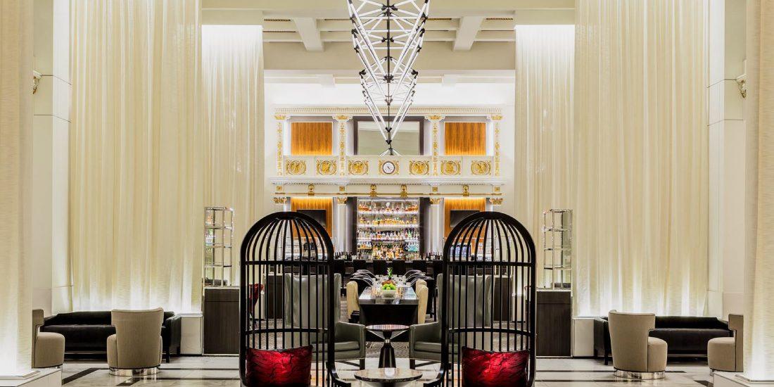 lobby bar and lounge at historic Boston Park Plaza in Massachusetts, MA, multimillion-dollar hotel renovation