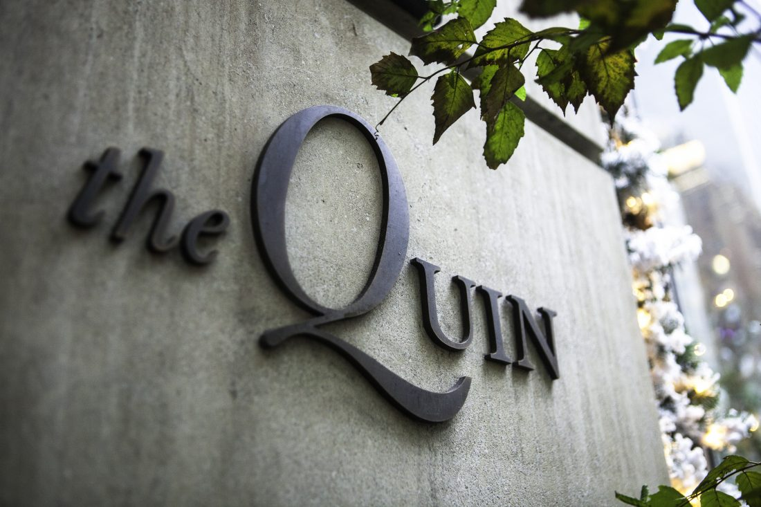 hotel entrance logo sign, outdoor signage for the Quin, brand naming and custom logo design by Stellabean