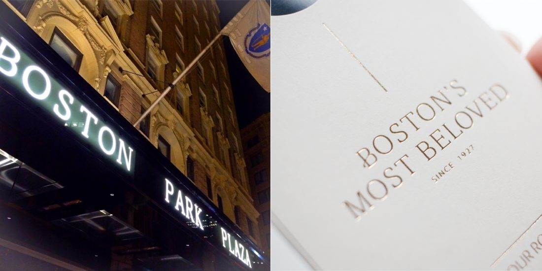 hotel entrance logo sign, outdoor signage for Boston Park Plaza, guest room key card sleeve with chiseled font