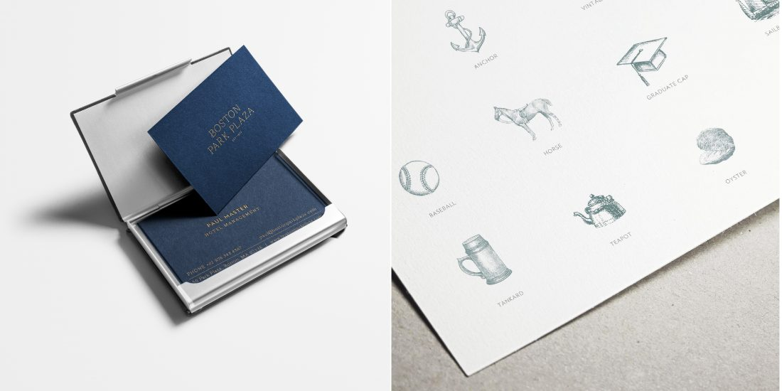 modern business cards for Boston hotel employees, hospitality brand visual language by Stellabean agency