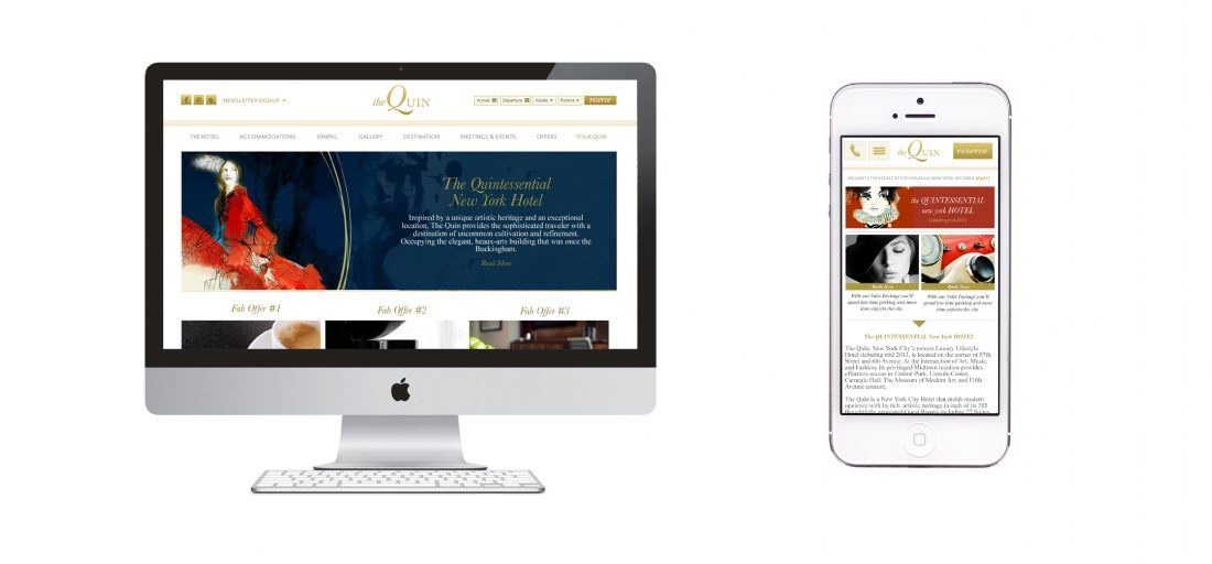 web design on desktop and mobile device for luxury hotel brand, UX, UI, creative by Stellabean digital agency