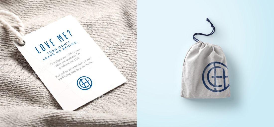 guest room amenities, printed robe tag, drawstring bag, innovative brand mark, symbol, emblem, icon, motif