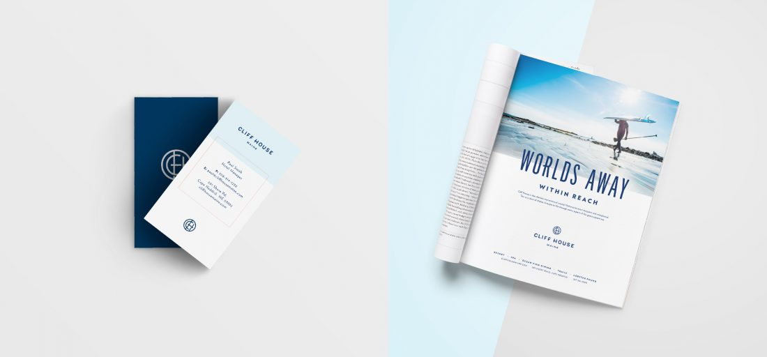 contemporary business card design for Cliff House Maine, print magazine ad design, luxury resort marketing