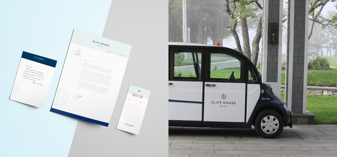 branded print collateral, stationery design, notepad, note paper, letterhead, luggage tag, resort vehicle with logo