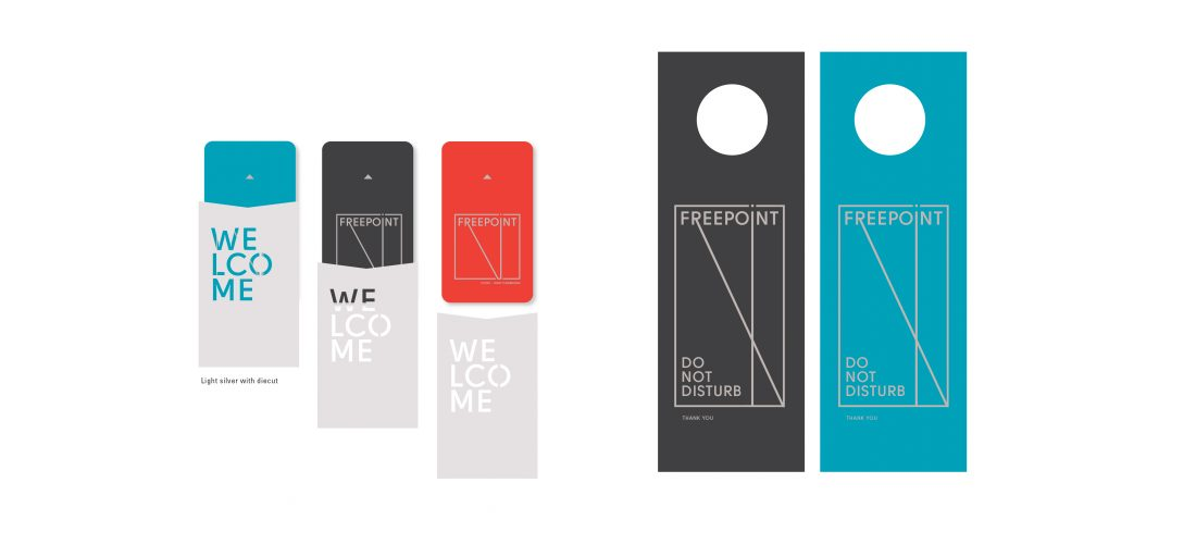 hotel key cards in bold colors, key sleeves with unique die cut cutout, do not disturb guest room door hanger
