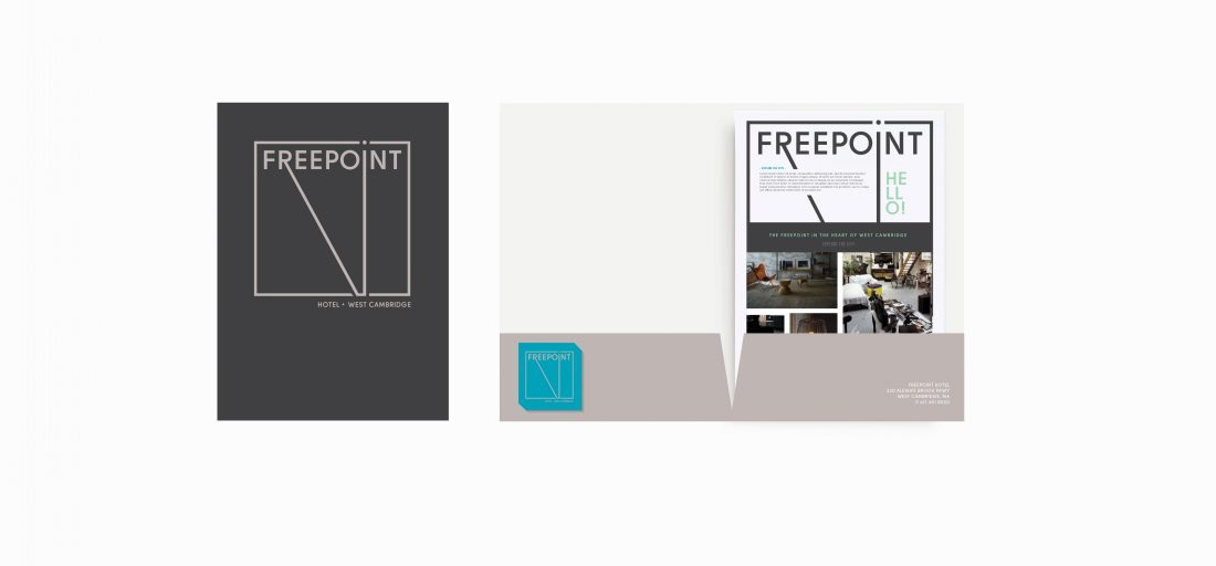 sales folder, fact sheet and business card for hotel marketing, print production by full service creative agency