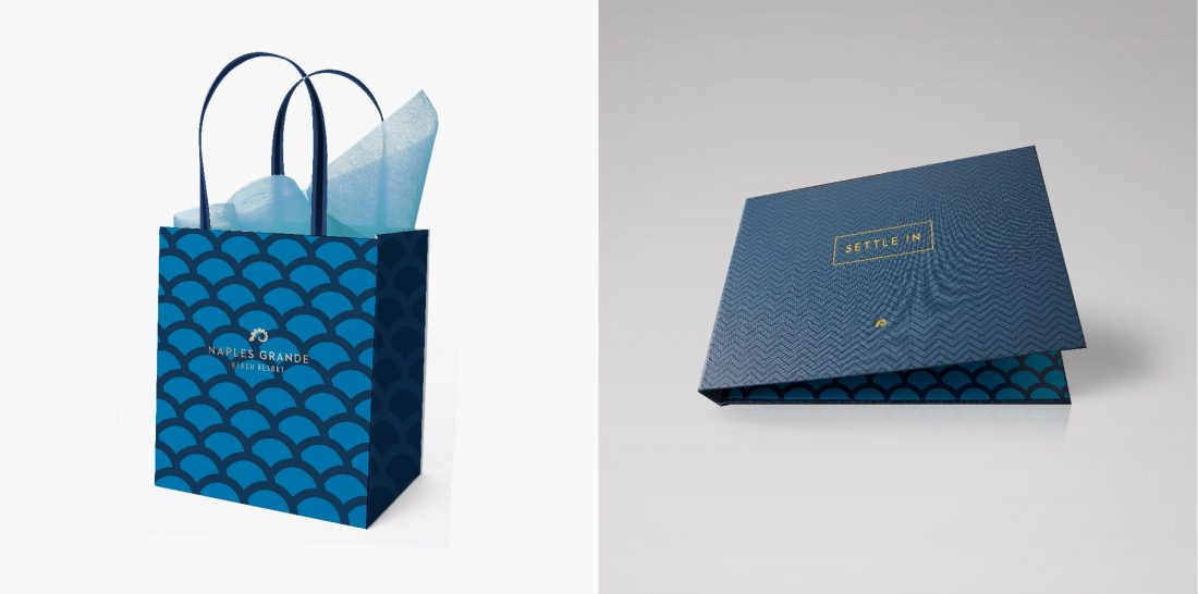 custom branded gift bag, hotel brand logo, modern graphic design patterns, guest room collateral production